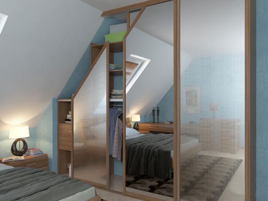 Шкафы купе для мансардных этажей
